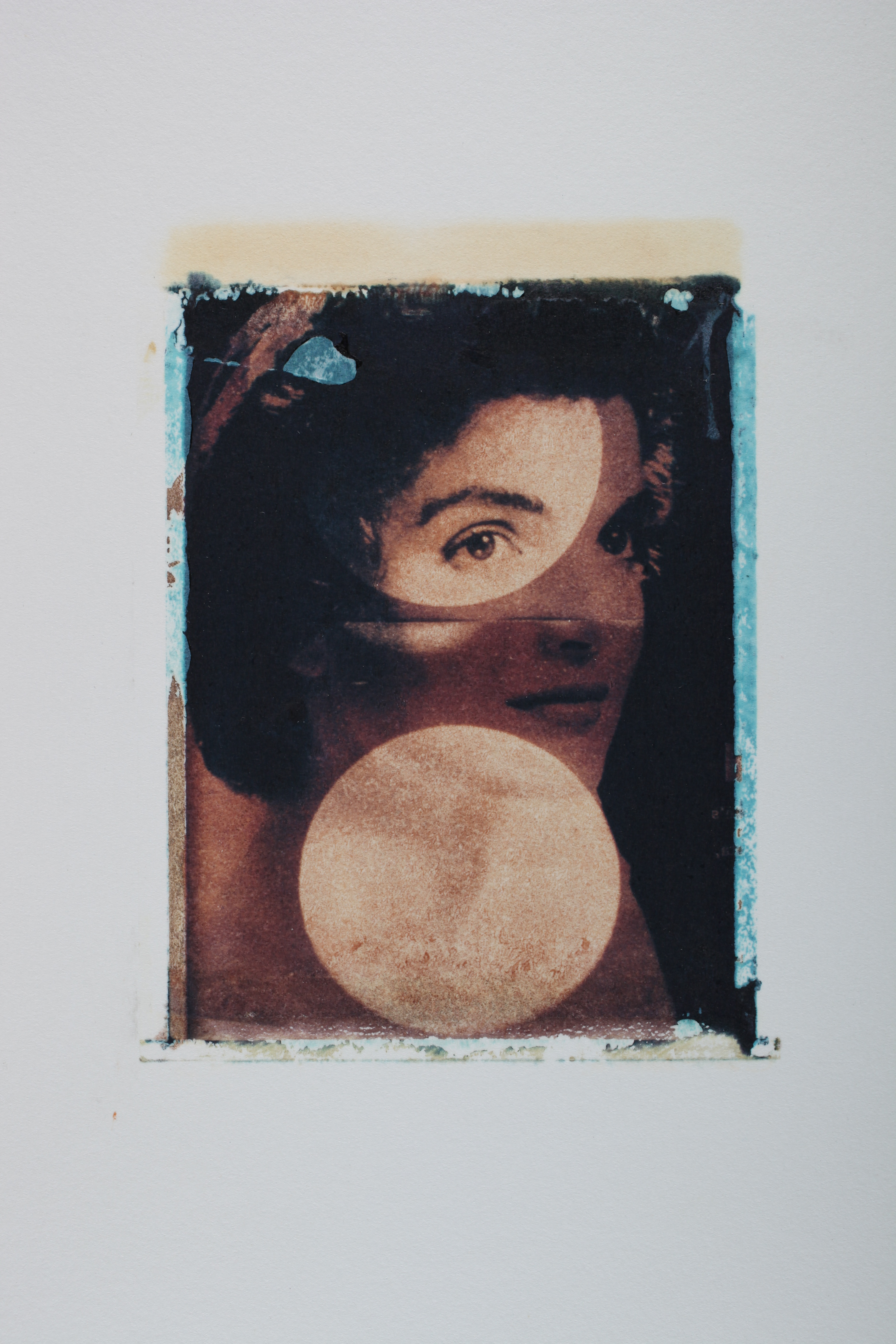 Multi-layered Polaroid image by Robert Seydel with Jackie Kennedy and circular shapes