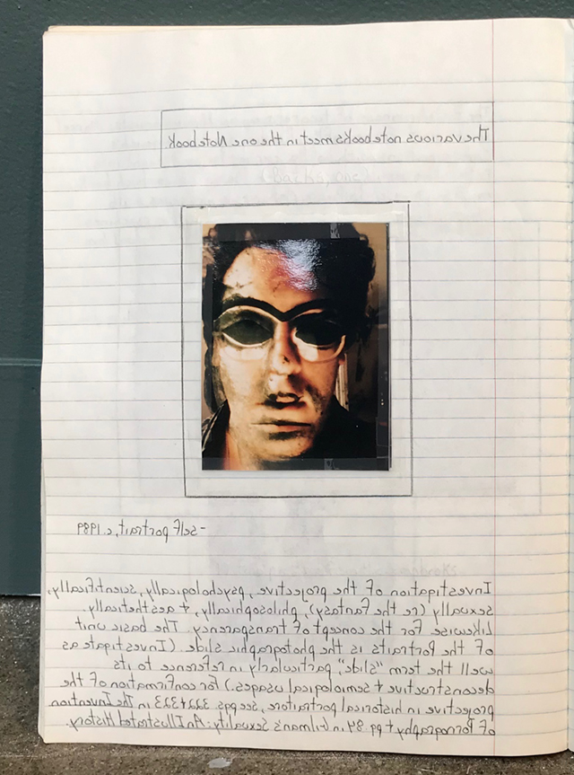 Multi-layered Polaroid self-portrait in notebook
